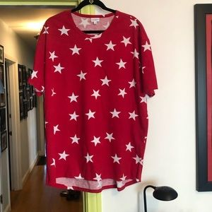 LuLaRoe Red with White Stars Patrick
